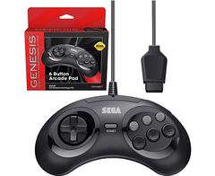 Retro-Bit Official Sega Genesis Controller 6-Button Arcade Pad for Sega Genesis - Original Port - Black