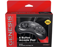 Retro-Bit Official Sega Genesis Controller 6-Button Arcade Pad for Sega Genesis - Original Port - Black - hadriatica