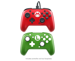 Nintendo Switch Faceoff Wired Pro Controller with 2 Super Mario Controller Faceplates - tienda online