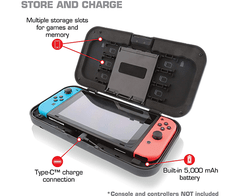 Nyko Power Shell Case - Hard protective case with built-in 5,000 mAh rechargeable battery, integrated play and charge cord, kickstand and game/SD Card storage en internet