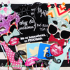 Kit 25 accesorios y carteles vintage photobooth con palitos de colores