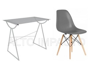 Escritorio Moderno Pc + Silla Dsw Eames Color A Eleccion