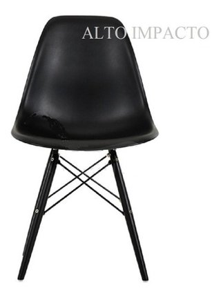 Set 4 Sillas Eames Dsw Negra All Black/white 1 Alto Impacto