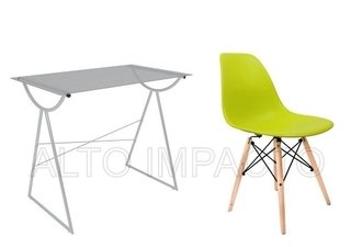 Escritorio Moderno Pc + Silla Dsw Eames Color A Eleccion - ALTO IMPACTO Home + Office