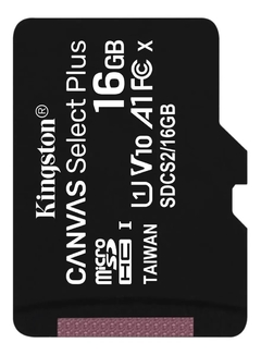 Memoria Micro Sd 16gb Kingston Clase 10 Canvas Select Plus 4k 80mb/s Original - comprar online