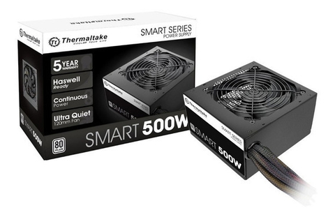 Fuente ATX Thermaltake 500W (Reales) Gamer 80Plus