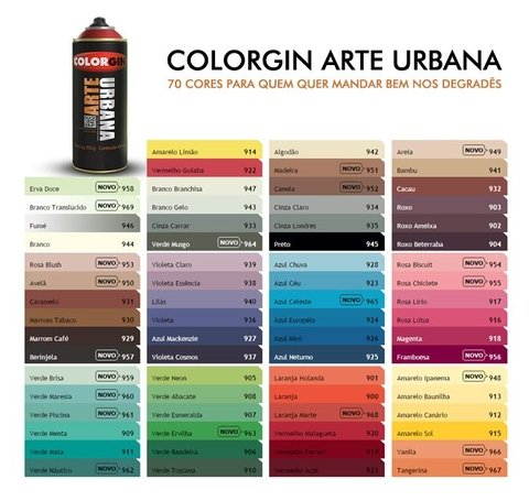 Spray Arte Urbana Colorgin, todas as cores. valor unitário - Atelie das Artes
