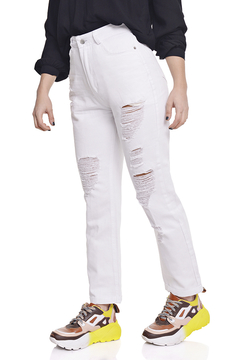 Pantalon Mom Gabardina con Roturas en internet