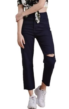 Pantalon Mom Recto de Gabardina con Rotura en internet