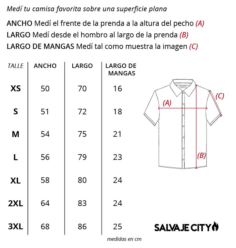 Tabla de talles Camisas estampadas ss22