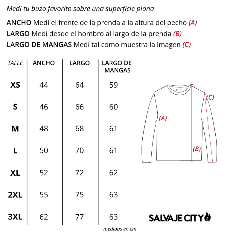 Tabla de talles sweater blake fw 21