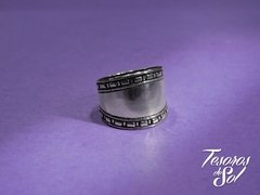 PTM 23 - Anillo de Plata 925 - Ancho Liso con borde con guarda (15 mm)