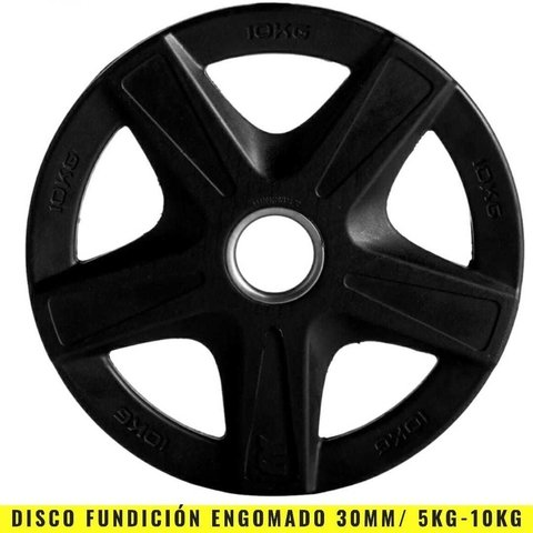 Discos Fundición Engomados 30 mm (10 Kg) Agarre - MM Fitness