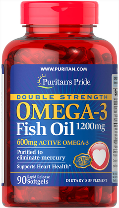 Double Strength Omega 3 Fish Oil 600 MG (Activo, Purificado) 90 Softgels - Puritans Pride
