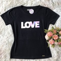 T-shirt gola careca manga curta LOVE METALIZADO