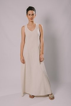 NATURAL FABRIC LONG DRESS
