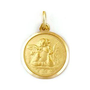 Medalla de oro 18 Kilates Angel De La Guarda 10mm #MED0024