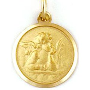 Medalla de oro 18 Kilates Angel De La Guarda 20mm #MED0263
