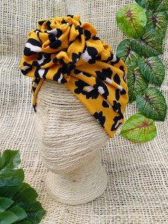 Turbante animal print mostaza - comprar online