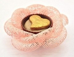 Fabric Flower Wrappers for Wedding Sweets Rose in Ecomesh (30 pieces)