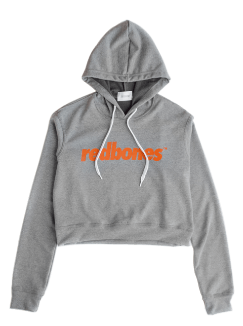 ORANGE LOGO CROPPED HOODIE