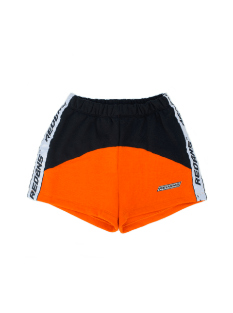 BLACK & ORANGE COLORBLOCK SHORTS