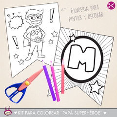 KIT IMPRIMIBLE PARA COLOREAR ¨PAPA SUPERHÉROE¨ en internet