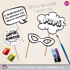 KIT IMPRIMIBLE PARA COLOREAR ¨PAPA SUPERHÉROE¨ - Cukero