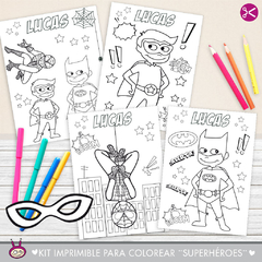 Kit imprimible para pintar ¨Superhéroes¨