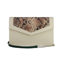 Clutch Munique Cobra - Off White e Verde Esmeralda - Camila Akemi
