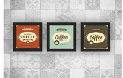 Kit Trio Quadros Decorativos Coffee Cantinho do Café c Vidro 2
