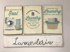 Kit 4 Placas Decorativas Laundry Lavanderia Vintage Mod.2