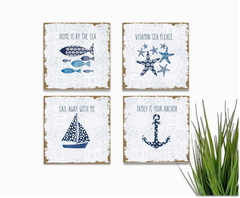 Kit Quadros Decorativos Placas Praia Mar Ocean Sea