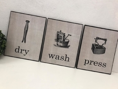 Kit 3 Quadros Decorativos Placas Laundry Lavanderia Vintage Wash - comprar online