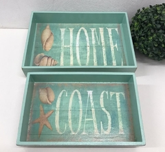 Bandeja Decorativa Kit Home Praia Beach House Nautico Verde - comprar online