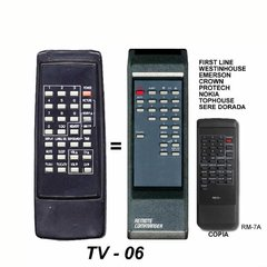 TV 06 - Control remoto TV RM7A ADMIRAL CROWN MUSTANG AUDINAC NOBLEX
