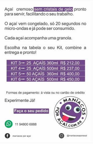 25 AÇAÍs 360 ml ATACADO na internet