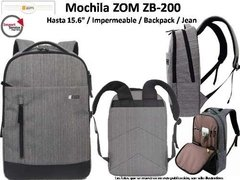 Mochila Zom Zb-200 Backpack Color Jean P/notebook 15,6pulg