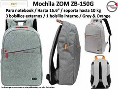 Mochila Zom Zb-150g P/ Notebook Hasta 15.6pulg Waterproof - Import Service Argentina
