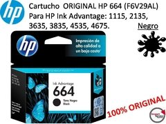 Cartucho Original Hp 664 (f6v29al) P/hp Ink Advantage Black