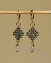 Trama (Thread) earrings with faced hematite, pink quartz and golden elements