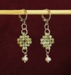 Trama (Thread) earrings with faced beryl, pearl and silver elements