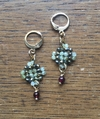 Trama (Thread) earrings with aced hematite and beryl, garnet and golden elements