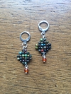 Trama (Thread) earrings with faced turquoise and carnelian beads and silver elements