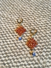Trama (Thread) earrings with faced brown garnet and sodalite beads and golden elements