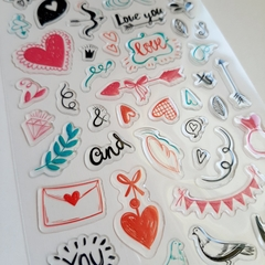 Plancha de stickers LOVE SCRAP RELIEVE