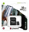 Memoria Micro Sd 16gb Kingston 100mb/s Clase 10 + Adaptador