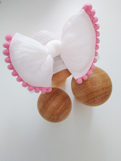 Turbante Bow - Branco & Pompom Rosa