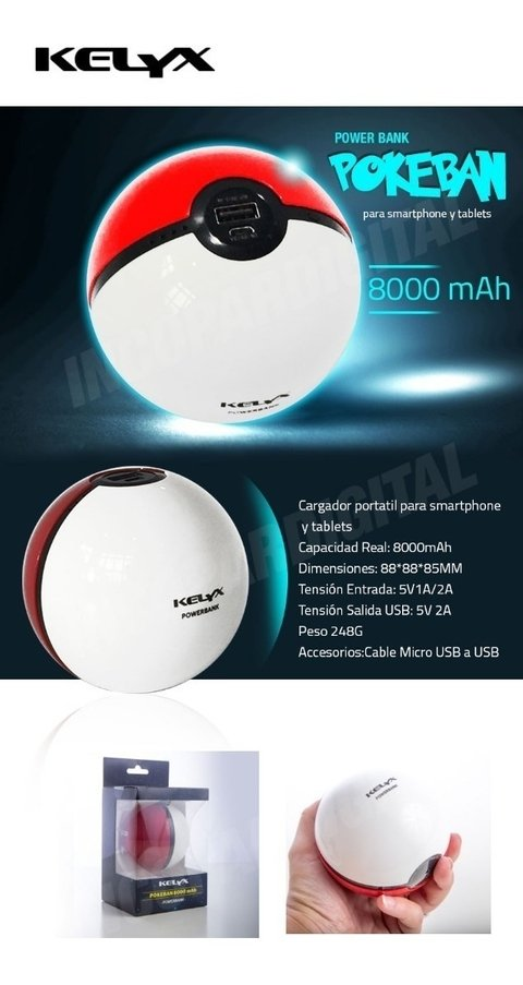 Power Bank Pokemon Go Cargador Portatil 8000mah Rapido