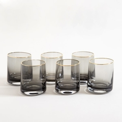 VASO BLACK GLASS BORDE DORADO 9.5X7.5CM